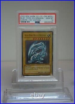 Yu-Gi-Oh! Blue-Eyes White Dragon 2002 SDK-E001 1st Edition PSA 10, Europe