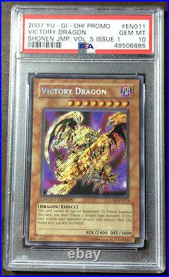 Yu-Gi-Oh PSA 10 Victory Dragon JUMP-EN011 Secret Rare Limited Edition Promo 2007