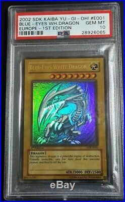 Yu-gi-oh Blue-Eyes White Dragon 1st Edition PSA 10 SDK-E001 POP 1