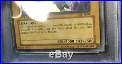 Yugioh 2002 BLUE-EYES WHITE DRAGON 1st Edition LOB-E001 PSA 4 (see Description)