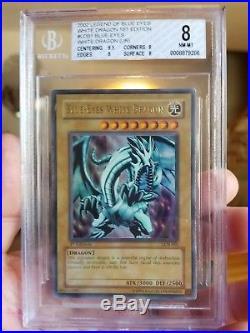 Yugioh Blue-Eyes White Dragon LOB-001 1st Edition NEW Ultra Rare BGS 8 NM-MINT