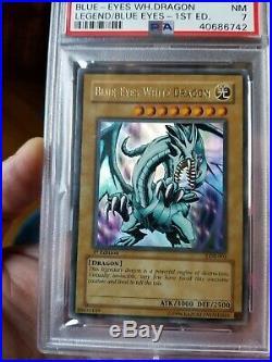 Yugioh Blue-Eyes White Dragon LOB-001 1st Edition NEW Ultra Rare PSA 7 NEAR-MINT