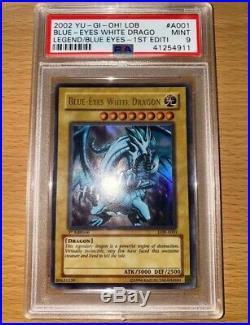 Yugioh Blue Eyes White Dragon Legend of Blue Eyes 1st Edition LOB-001 PSA 9