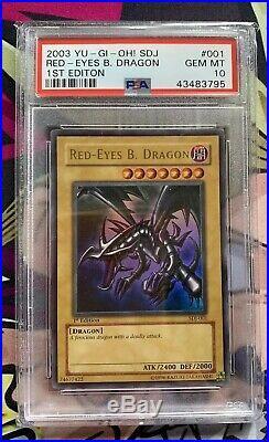 Yugioh Card PSA 10 Red Eyes B. Dragon 1st Edition SDJ-001 Ultra Rare