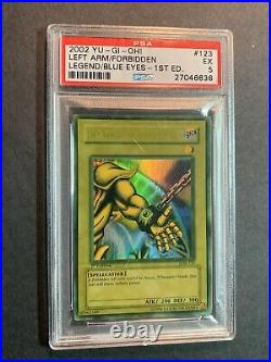 Yugioh PSA 5 Left Arm Of The Forbidden Own LOB-123 1st Edition Faded Wavy