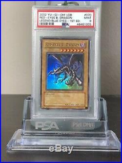 Yugioh Red Eyes Black Dragon 1st Edition LOB-070 PSA 9 MINT